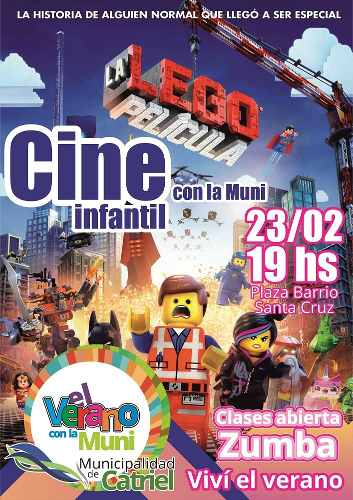 """Catriel25Noticias.com Afiche-23-02 Se concluye con el ciclo de """"Cine Infantil de Verano"""" en Plaza de Barrio Santa Cruz. LOCALES"""