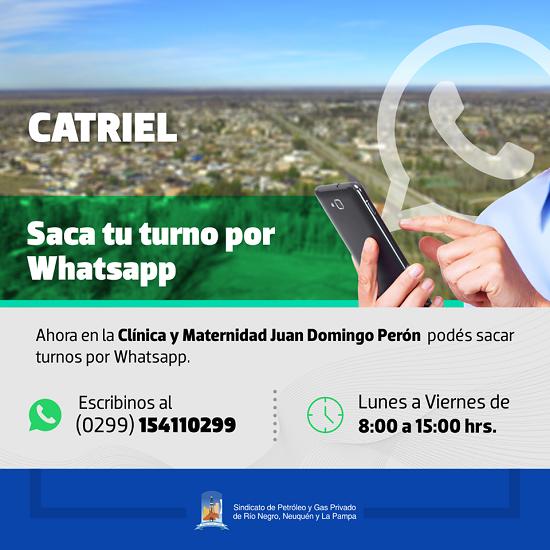 Catriel25Noticias.com 57438118_2187556921322932_3184579161763086336_n Clínica Perón implementó sistema de turnos por whatsapp LOCALES SOCIEDAD