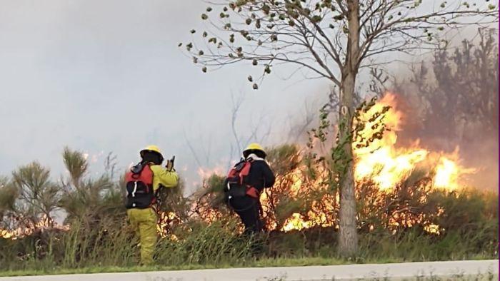 Catriel: Arduo trabajo de bomberos para sofocar un incendio